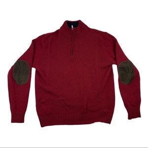 LL Bean Shetland Wool 1/4 Sweater w/Elbow Patches